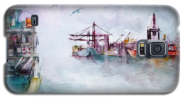 Galaxy S5 Case featuring the painting The Ship At Harbor Entrance by Faruk Koksal