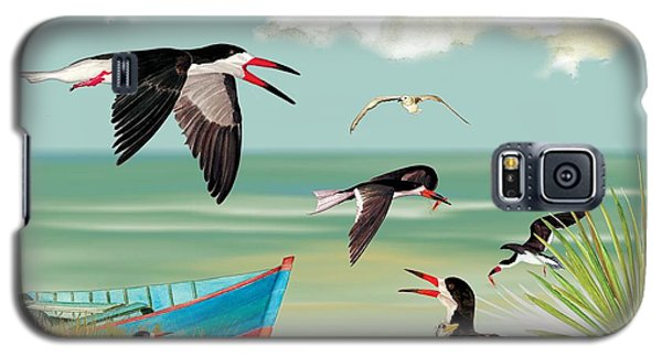 Galaxy S5 Case featuring the painting The Skimmers Of Margaritaville by Anne Beverley-Stamps