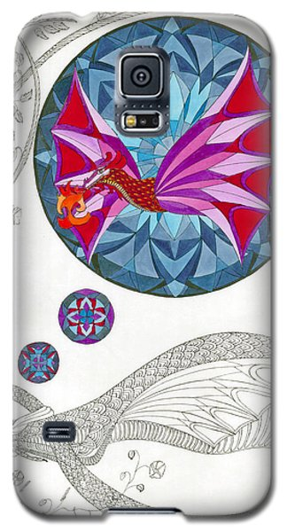 Galaxy S5 Case featuring the drawing The Sleeping Dragon by Dianne Levy