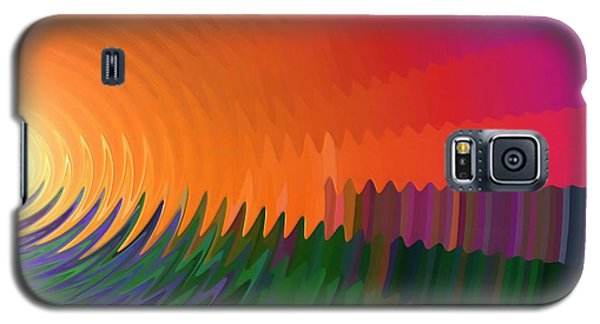 Galaxy S5 Case featuring the painting The Sun Drops Into The Horizon by Pet Serrano