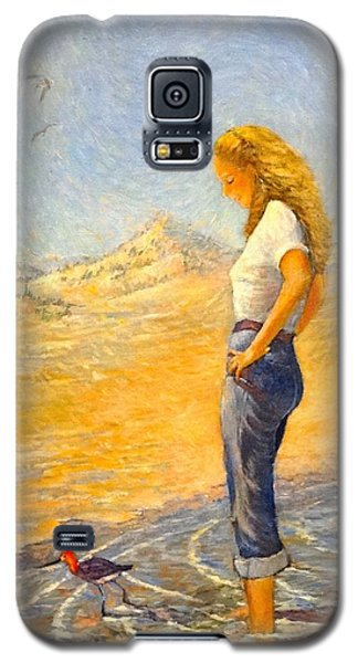 Galaxy S5 Case featuring the painting The Waders  by Charles Munn