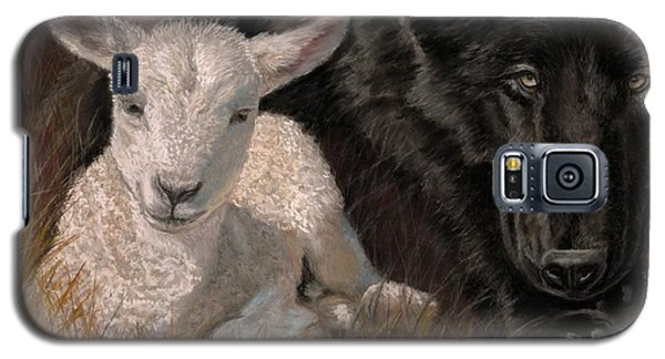 Galaxy S5 Case featuring the painting The Wolf And The Lamb by Sheri Gordon