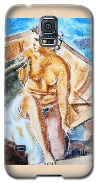 Galaxy S5 Case featuring the painting The Woman Rower by Jasna Dragun