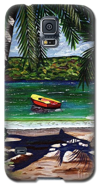 Galaxy S5 Case featuring the painting The Yellow And Red Boat by Laura Forde
