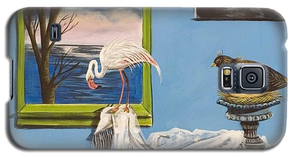 Galaxy S5 Case featuring the painting They Say I See Flamingos by Susan Culver