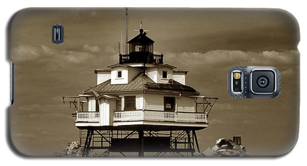 Thomas Point Shoal Lighthouse Sepia Galaxy S5 Case by Skip Willits