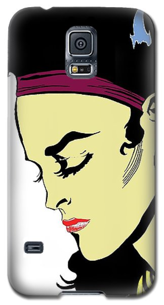 Galaxy S5 Case featuring the drawing Thoughtful Woman 2 by Yngve Alexandersson