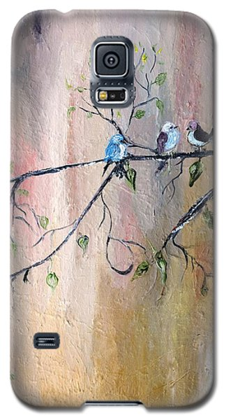 Galaxy S5 Case featuring the painting Three Birds by Evelina Popilian