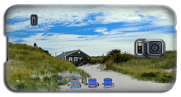 Galaxy S5 Case featuring the photograph Three Blue Beach Chairs by Amazing Jules