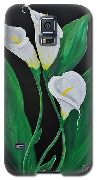 Galaxy S5 Case featuring the painting Three Calla Lilies On Black by Janice Rae Pariza