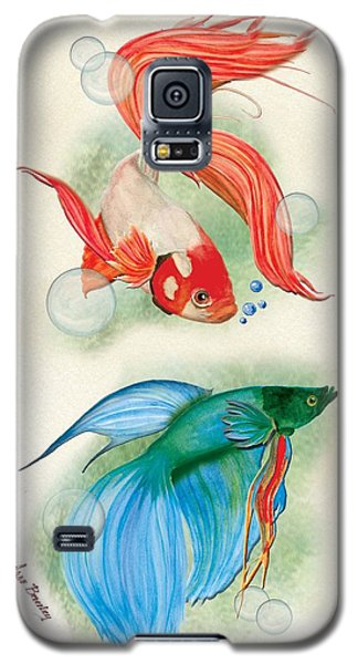 Galaxy S5 Case featuring the painting Three Fish by Anne Beverley-Stamps