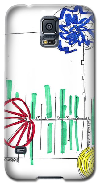 Galaxy S5 Case featuring the painting Three Flowers by Teddy Campagna
