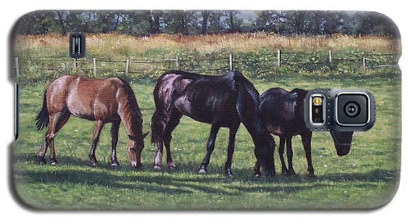 Three Horses In Field Galaxy S5 Case by Martin Davey