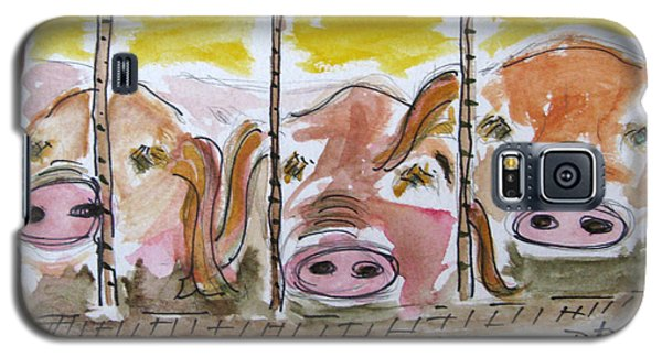 Galaxy S5 Case featuring the painting Three Little Pigs by Patricia Januszkiewicz