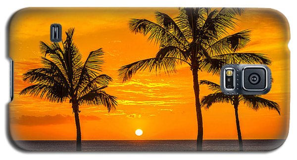 Three Palms Golden Sunset In Hawaii Galaxy S5 Case