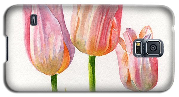 Three Peach Colored Tulips Square Design Galaxy S5 Case by Sharon Freeman