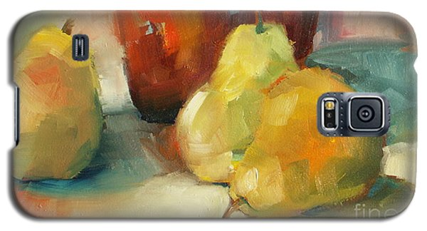 Galaxy S5 Case featuring the painting Three Pears And A Pot by Michelle Abrams