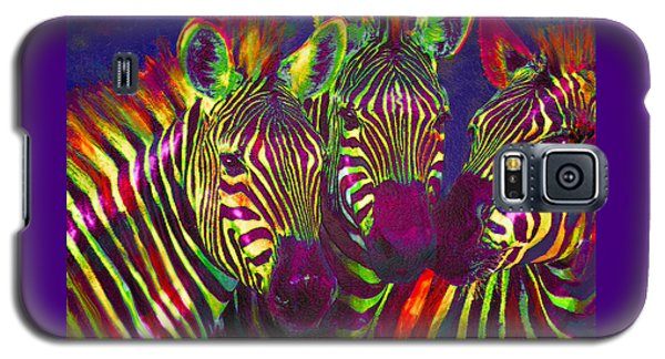 Three Rainbow Zebras Galaxy S5 Case