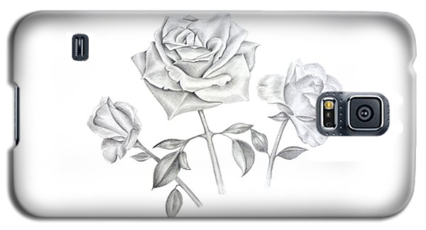 Galaxy S5 Case featuring the drawing Three Roses by Elizabeth Lock