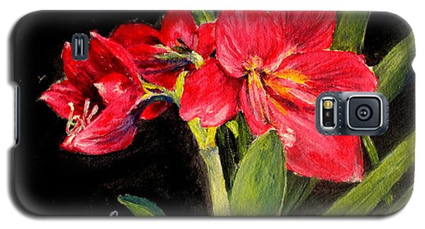 Galaxy S5 Case featuring the painting Three Stalks Of Lilies Blooming by Jason Sentuf