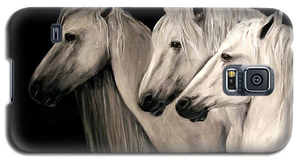 Galaxy S5 Case featuring the painting Three White Horses by Nancy Bradley