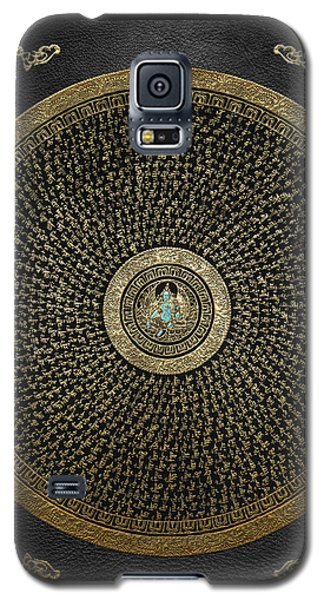 Tibetan Thangka - Green Tara Goddess Mandala With Mantra In Gold On Black Galaxy S5 Case