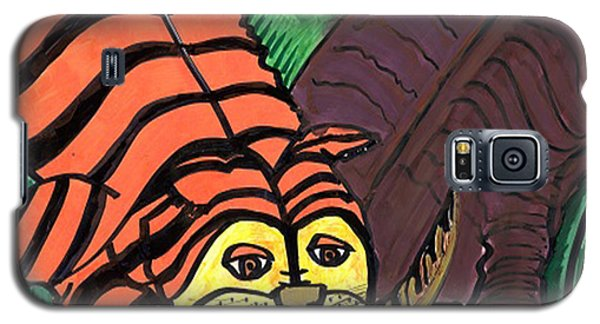 Galaxy S5 Case featuring the drawing Tiger And Buffalo by Don Koester