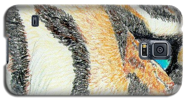 Galaxy S5 Case featuring the drawing Tiger Blue by Stephanie Grant