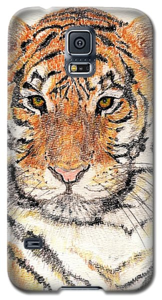 Galaxy S5 Case featuring the drawing Tiger Bright by Stephanie Grant