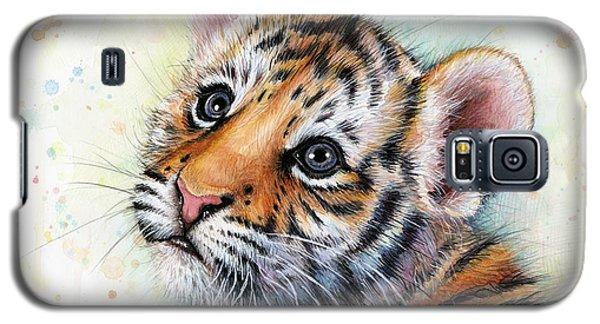 Tiger Galaxy S5 Case - Tiger Cub Watercolor Art by Olga Shvartsur