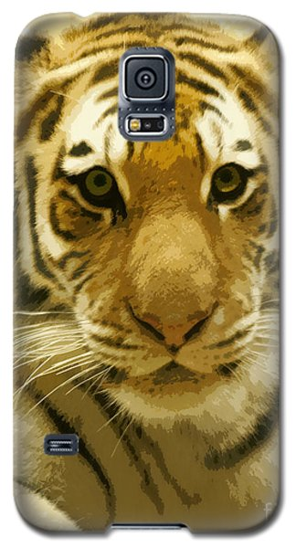 Galaxy S5 Case featuring the digital art Tiger Eyes by Erika Weber