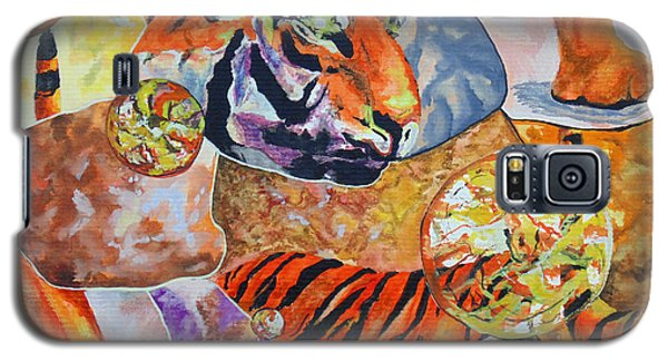 Galaxy S5 Case featuring the painting Tiger Mosaic by Daniel Janda