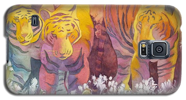 Galaxy S5 Case featuring the painting Tiger Trio by Nancy Jolley