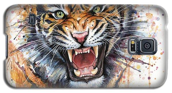 Tiger Watercolor Portrait Galaxy S5 Case by Olga Shvartsur