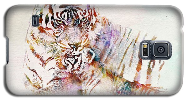 Tiger With Cub Watercolor Galaxy S5 Case by Marian Voicu