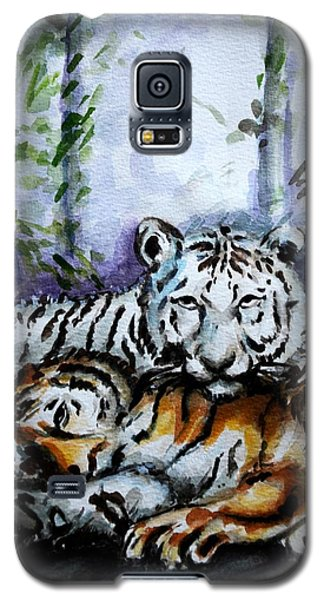 Galaxy S5 Case featuring the painting Tigers-mother And Child by Harsh Malik