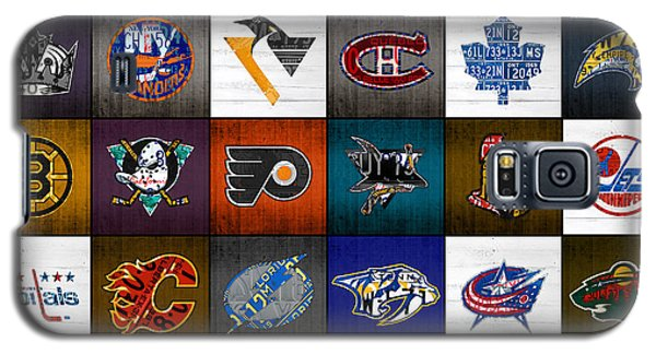 Time To Lace Up The Skates Recycled Vintage Hockey League Team Logos License Plate Art Galaxy S5 Case