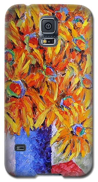 Galaxy S5 Case featuring the painting Today I Think In Yellow by Nina Mitkova