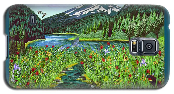 Galaxy S5 Case featuring the painting Todd Lake Mt. Bachelor by Jennifer Lake