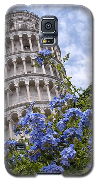 Tower Of Pisa With Blue Flowers Galaxy S5 Case by Melany Sarafis