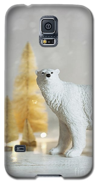 Toy Polar Bear With Little Gold Trees And Lights Galaxy S5 Case