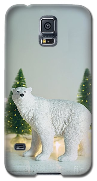 Toy Polar Bear With Little Trees And Lights Galaxy S5 Case