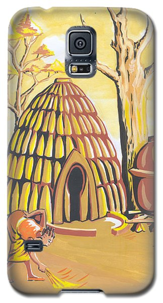 Galaxy S5 Case featuring the painting Traditional House Massa Northern Cameroon by Emmanuel Baliyanga