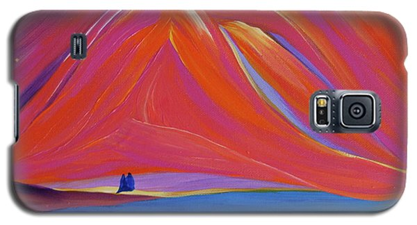 Galaxy S5 Case featuring the painting Travelers Pink Mountains by First Star Art