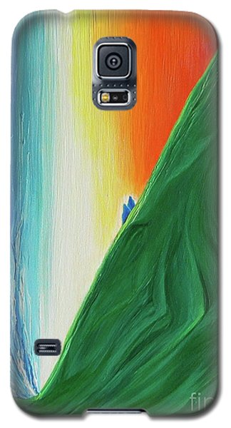 Galaxy S5 Case featuring the painting Travelers Rainbow Waterfall By Jrr by First Star Art