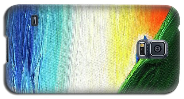 Galaxy S5 Case featuring the painting Travelers Rainbow Waterfall Detail by First Star Art