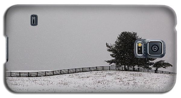 Tree And Fence In Snow Storm Galaxy S5 Case