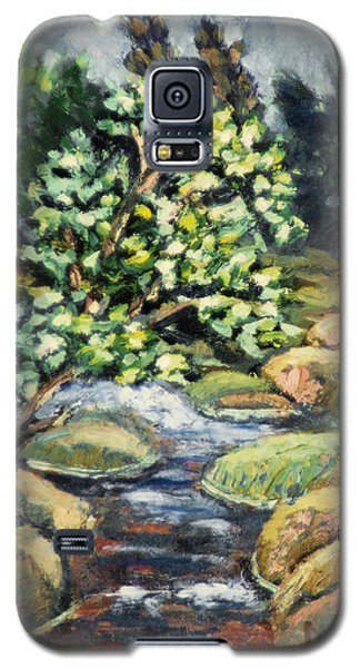 Galaxy S5 Case featuring the painting Tree And Stream by Michael Daniels