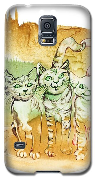Galaxy S5 Case featuring the painting Tree Brothers  by Anna Ewa Miarczynska