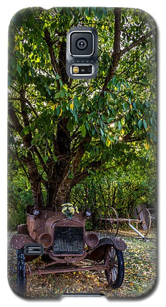 Galaxy S5 Case featuring the photograph Tree Growing Out Of Old Car - 1 by Rob Green
